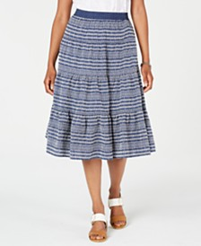Tommy Hilfiger Paneled Printed Midi Skirt, Created for Macy's