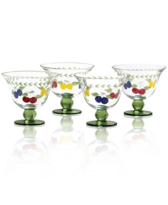 Glassware, Set of 4 French Garden Footed Bowls