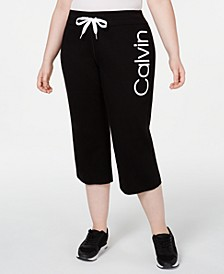 Plus Size Logo Flared Cropped Pants
