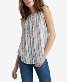 Lucky Brand Striped Sleeveless Button-Up Top