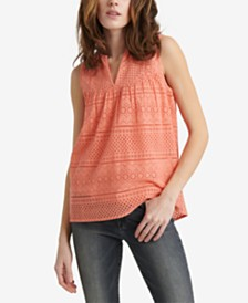 Lucky Brand Cotton Eyelet Sleeveless Top
