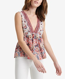 Lucky Brand Embellished Sleeveless Romantic Top