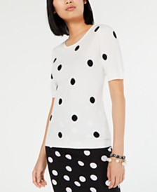 I.N.C. Polka Dot Puff-Sleeve Sweater, Created for Macy's