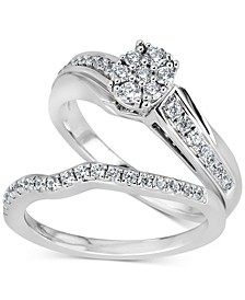 Diamond Cluster Bridal Set (1/2 ct. t.w.) in 14k White Gold