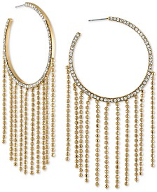 RACHEL Rachel Roy Gold-Tone Pavé & Bead Chain Hoop Earrings