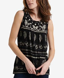 Lucky Brand Embroidered Printed Sleeveless Top
