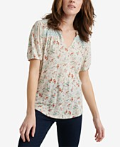 0ccb17b57551b9 Lucky Brand Floral Printed Peasant Top