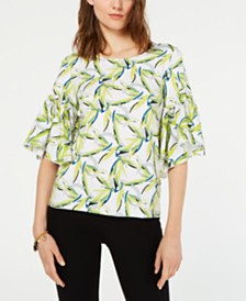 Alfani Petite Bell-Sleeve Printed Top, Created for Macy's