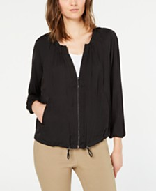 Alfani Bungee-Hem Washed-Satin Jacket, Created for Macy's