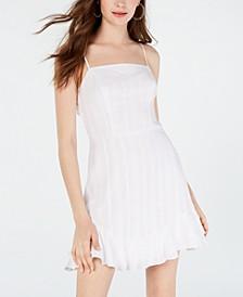 Juniors' Tie-Back Textured A-Line Dress