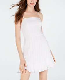 City Studios Juniors' Tie-Back Textured A-Line Dress