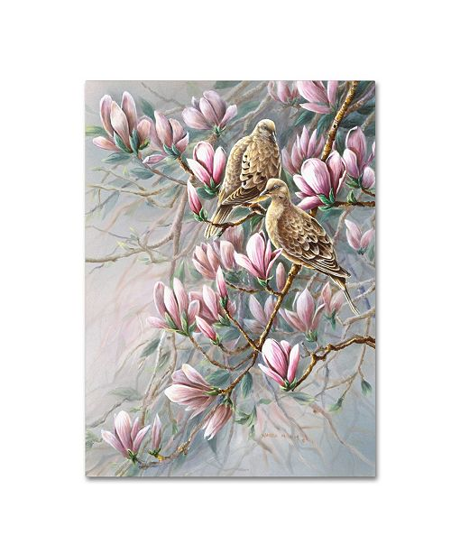 "Trademark Global Wanda Mumm 'Doves And Magnoilas' Canvas Art - 24"" x 18"" x 2"""