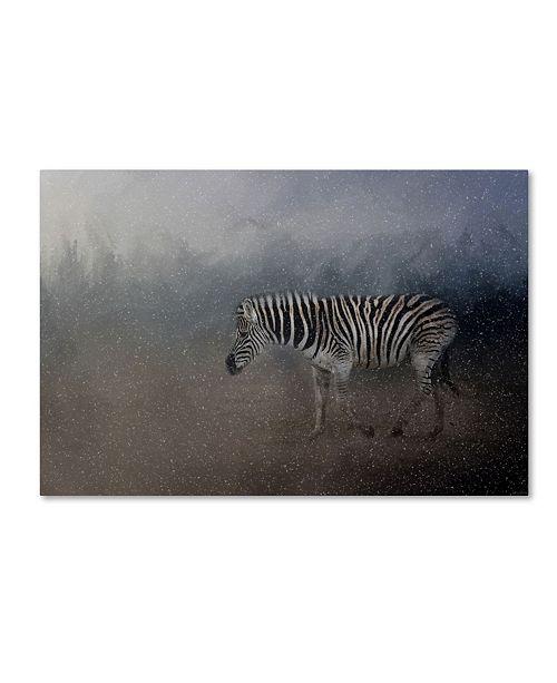 "Trademark Global Jai Johnson 'Zebra In A Snow Storm' Canvas Art - 32"" x 22"" x 2"""