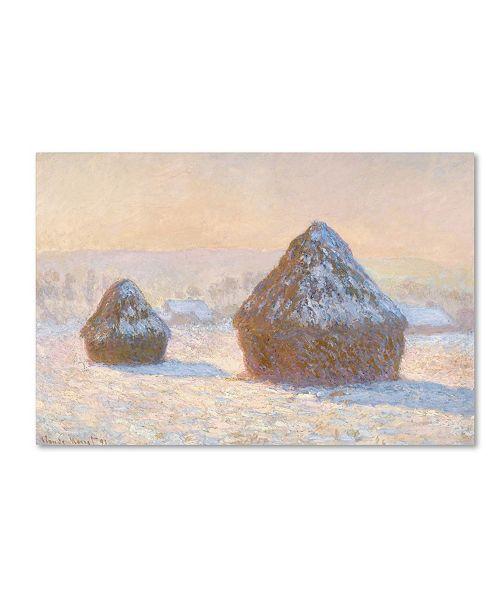 "Trademark Global Monet 'Wheatstacks Snow Effect In Morning' Canvas Art - 24"" x 16"" x 2"""
