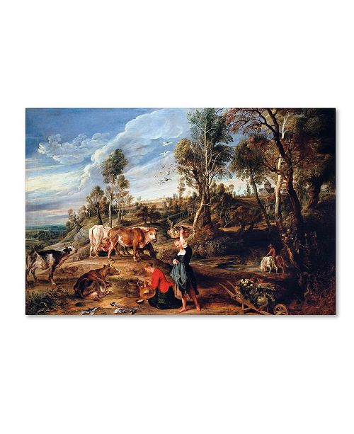 """Trademark Global Peter Paul Rubens 'Milkmaids With Cattle In A Landscape' Canvas Art - 24"""" x 16"""" x 2"""""""