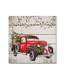 "Jean Plout 'Vintage Christmas Truck 1' Canvas Art - 14"" x 14"" x 2"""