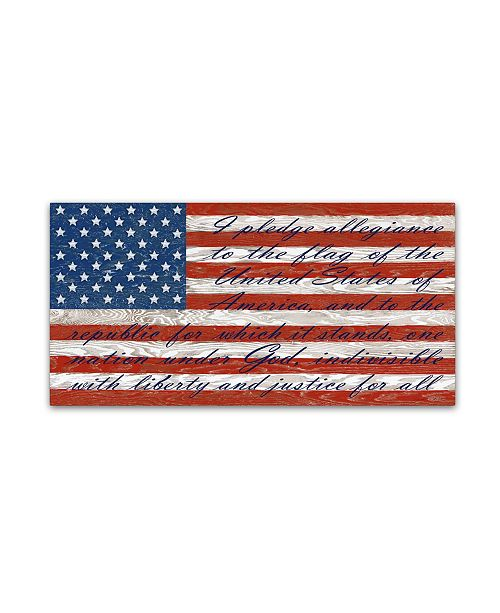 """Trademark Global Jean Plout 'Old Glory On Wood 4' Canvas Art - 10"""" x 19"""" x 2"""""""