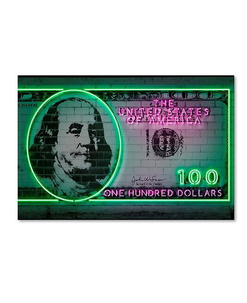 "Trademark Innovations Octavian Mielu '100 dollars' Canvas Art - 19"" x 12"" x 2"""