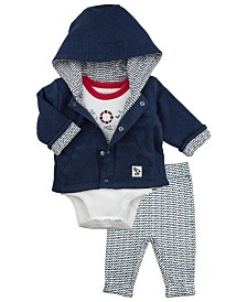 Mac and Moon 3-Piece Set with Hooded Jacket, Graphic Short Sleeve Bodysuit Tee and Pants