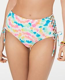 California Waves Juniors' Tie Dye Lace-Up High-Waist Bikini Bottoms, Created for Macys