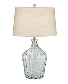 Clear Green Art Glass Table Lamp