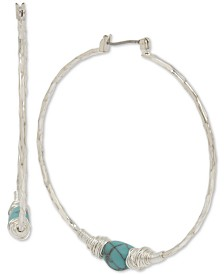 "Robert Lee Morris Soho Silver-Tone & Stone Wire-Wrapped Extra-Large 2-1/4"" Hoop Earrings"