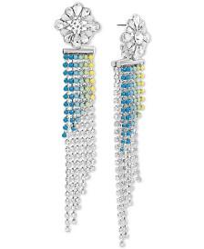 Steve Madden Women's Multi-Color Rhinestone Fringe Chain Gold-Tone Earrings