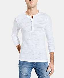 GUESS Men's Striped Henley