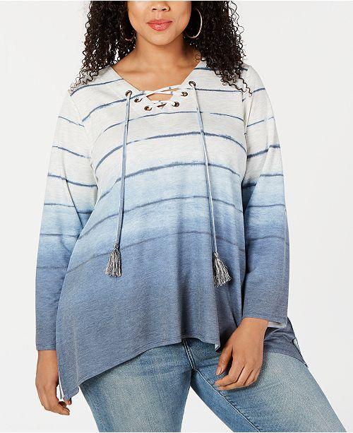 a289b8400b4caa ... Created for Macy's; Style & Co Plus Size Ombré Handkerchief-Hem  Top, ...