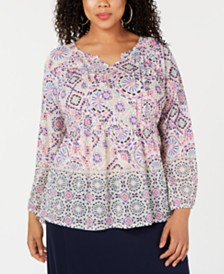 Style & Co Plus Size Printed Pintucked Top, Created for Macy's