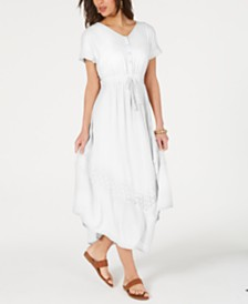 Style & Co Eyelet Handkerchief-Hem Maxi Dress, Created for Macy's