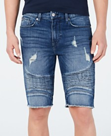GUESS Men's Pintuck Moto Denim Shorts