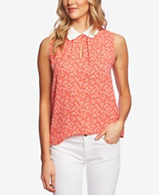 CeCe Sakura Delight Peter Pan Collar Top