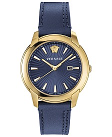 Versace Men's Swiss V-Urban Blue Leather Strap Watch 42mm