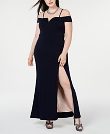 City Studios Trendy Plus Size Off-The-Shoulder Slit Gown
