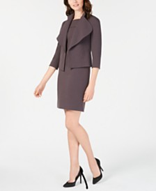 Anne Klein Crepe Sheath Dress & Cascade-Collar Jacket