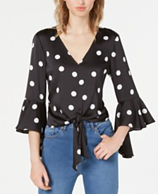 Bar III Dot-Print Bell-Sleeve Tie-Hem Top, Created for Macy's