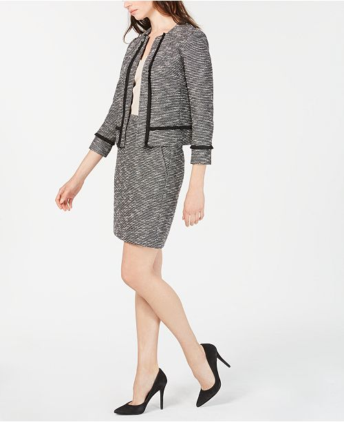 Anne Klein Fringe Tweed Jacket, Skirt & V-Neck Top