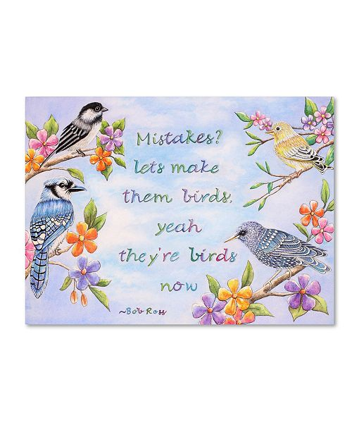 """Trademark Global Michelle Faber 'Birds And Flowers Quote' Canvas Art - 32"""" x 24"""" x 2"""""""