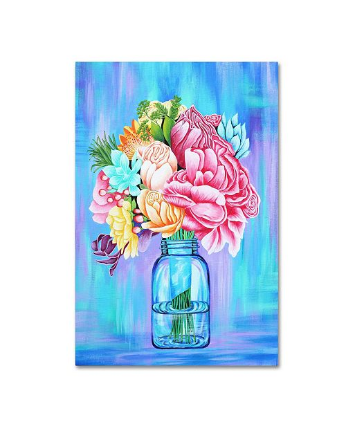 "Trademark Global Michelle Faber 'Colorful Flowers In Mason Jar' Canvas Art - 19"" x 12"" x 2"""