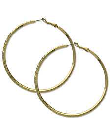 GUESS Earrings, Gold-Tone Clutchless Textured Hoop Earrings