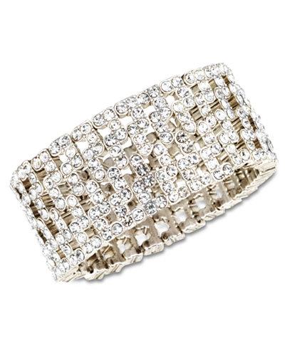 Anne Klein Silver-Tone Crystal Stretch Cuff Bracelet