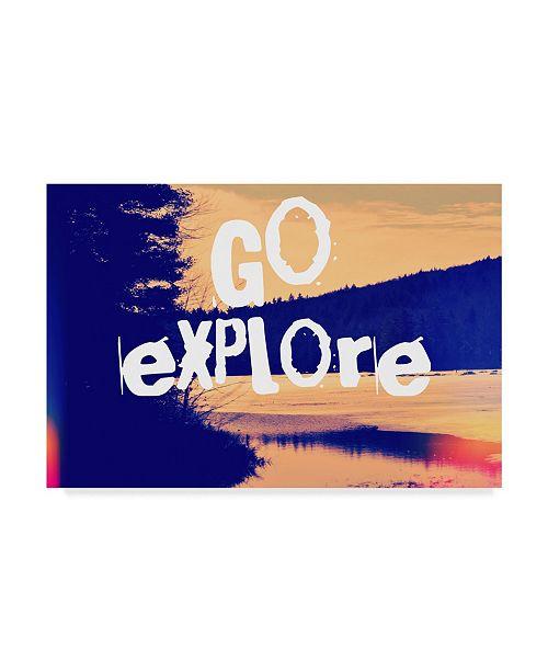 "Trademark Global Vintage Skies 'Go Explore' Canvas Art - 24"" x 16"" x 2"""