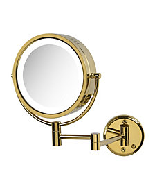 "The Jerdon HL75G 8.5"" Wall Mount Lighted Makeup Mirror"