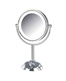 "The Jerdon HL8808CL 8.5"" Tabletop Two-Side Swivel LED Lighted Vanity Mirror"