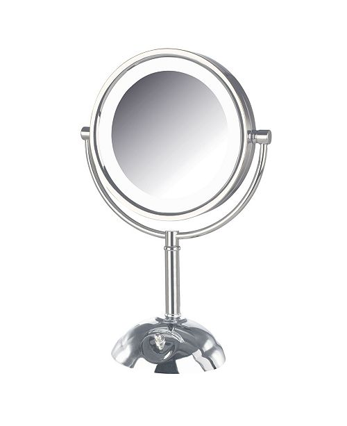 """Jerdon The HL8808CL 8.5"""" Tabletop Two-Side Swivel LED Lighted Vanity Mirror"""