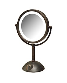 "The HL8808BZL 8.5"" Tabletop Two-Side Swivel LED Lighted Vanity Mirror"
