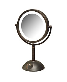 "The Jerdon HL8808BZL 8.5"" Tabletop Two-Side Swivel LED Lighted Vanity Mirror"