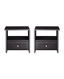 Faux Leather Upholstered 1-Drawer Nightstand, Set of 2