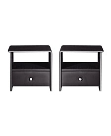 American Eagle Furniture Faux Leather Upholstered 1-Drawer Nightstand, Set of 2